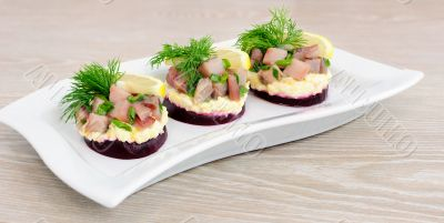 Appetizer with herring and beets