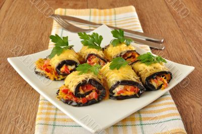 Eggplant rolls stuffed with cheese