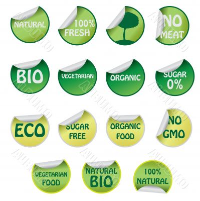 Set of icons with text about natural products.