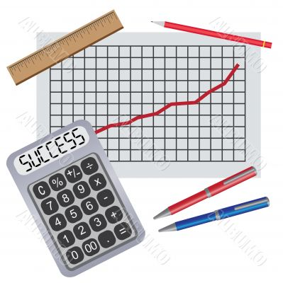 Calculator with writing success near chart with progress.