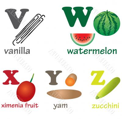 Alphabet letters V-Z with fruits.