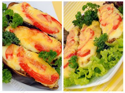 A collage of stuffed eggplant and zucchini