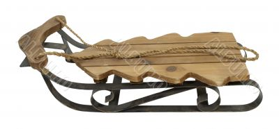 Wooden Snow Sled in Shape of a Tree