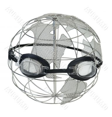 Wire Globe Wearing Goggles