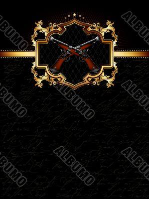 ornate golden frame with guns