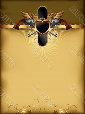 ornate golden frame with guns