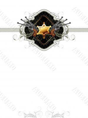 sheriff star with guns ornate frame
