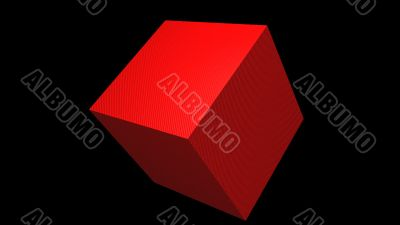 3D Red Cube Textured Tlited