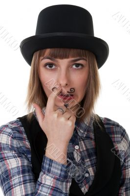 girl with painted mustaches
