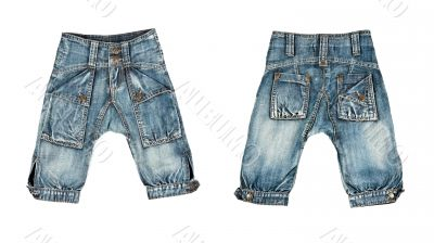 A collage made up of two pairs of trendy jeans for children