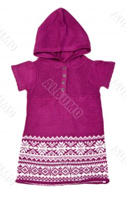 knitted sweater with a hood and a winter pattern
