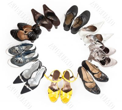 stylish women`s shoes are round