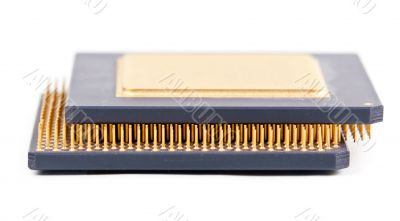Two old processor with the gold contact