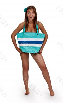 beautiful naked girl is covered bag