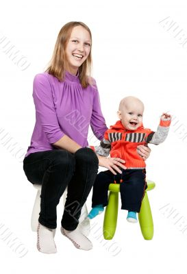 Mother and son in a chair in the studio