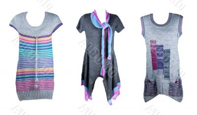 collage of the three knitted tunics