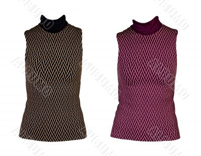 Collage of two women`s vest with a geometric pattern