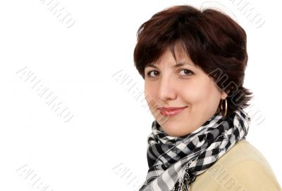 portrait of a woman forty years in a checkered scarf