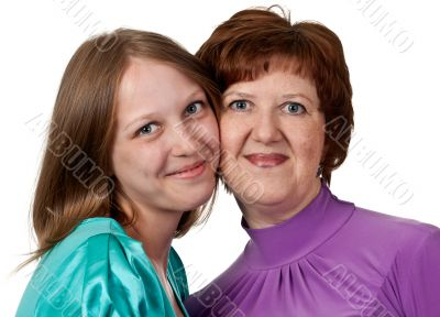 portrait of a middle-aged mother with a young daughter
