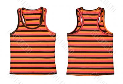 Collage of two women`s striped T-shirt