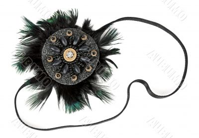 black fabric flower with crystals