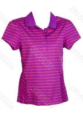 purple striped women`s sports shirt