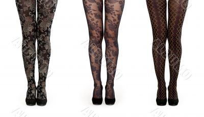 A collage made up of three pairs of female legs in pantyhose and