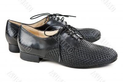 stylish pair of black leather shoes