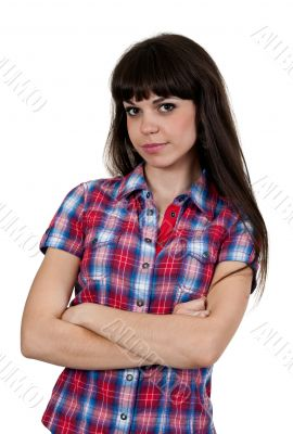 portrait of a girl in a red checked shirt
