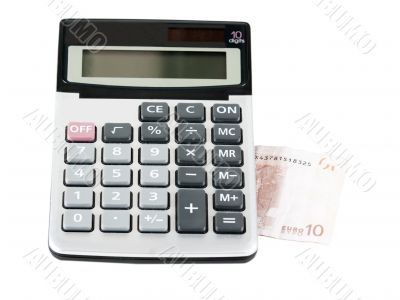 Electronic calculator, and note 10 euros