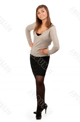 young business lady stands