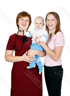 mother and grandmother with her grandson in the studio