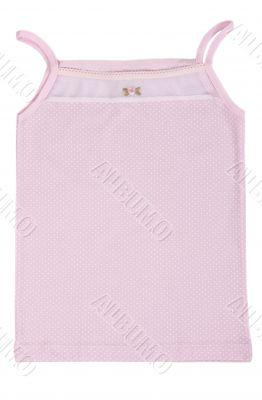 baby pink shirt with polka dots