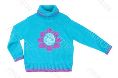 Blue children`s knitted sweater