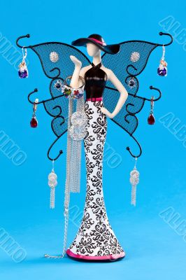 stand for jewelry, statuette, with wings