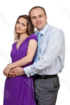 businessman hugging a woman