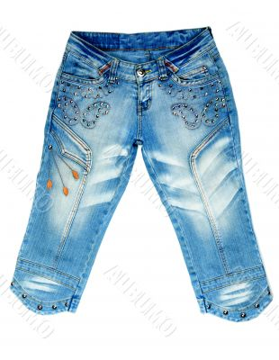 blue denim breeches with steel studs