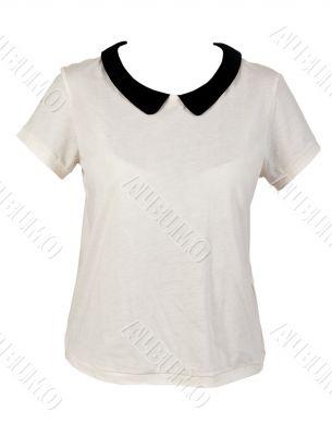 Women`s shirt with black collar