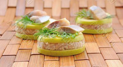Appetizer of foie herring `forshmak`