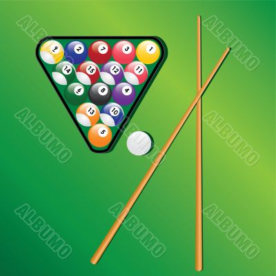Billiard balls and cues for play game.
