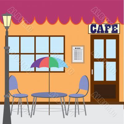 Outside cafe shop.