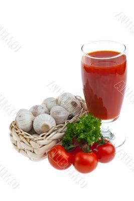 Tomato juice, garlic, parsley .