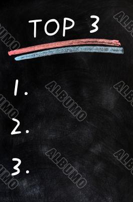 Blank menu of top three on a blackboard background