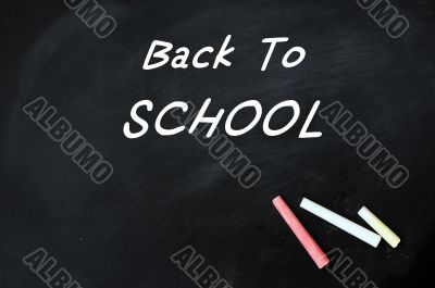 Back to school - text on a blackboard