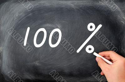 Writing 100 percent on a blackboard