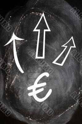 Euro symbol with up arrows on blackboard