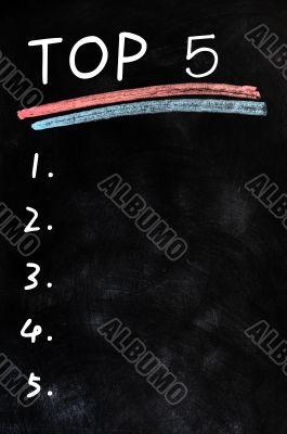 Blank menu of top five on a blackboard background