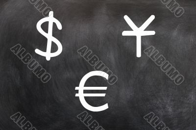 Chalk drawing of money symbols