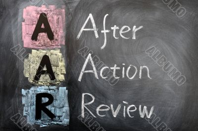 Acronym of AAR for after action review
