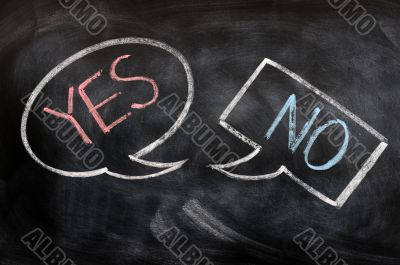 Speech bubbles with yes and no